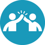 icon symbol of two people giving the high five hand gesture