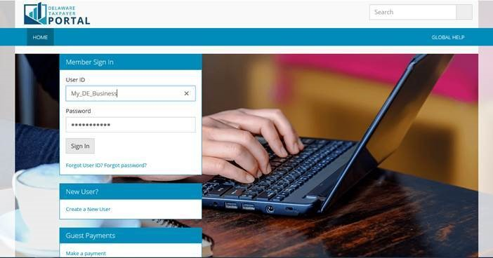 Image of the Delaware Taxpayer Portal page